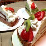 スミーツカフェの、トライフルショートと、抹茶モンブラン、チョコミントのケーキ。