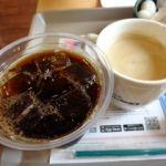 ファーストキッチン 飯田橋ラムラ店   コーヒー   アイス(セット内)と深煎りS(220円)。これで1時間の時間調整。
