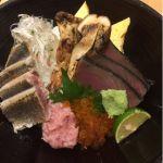 松茸と香味野菜の炙り秋刀魚丼