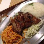 牛ステーキ&ナポリタン。空きっ腹にはたまらないボリューム感!うま〜( ´ ▽ ` )