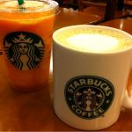 スターバックス・コーヒー イオン北戸田店 でフォーヒアショートヘーゼルナッツラテ&マンゴーパッションティーフラペチーノ。ワンブレーク