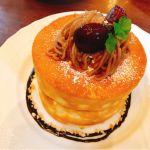 栗のスフレパンケーキ。スフレと言っても粉感のあるふわふわした生地が美味しくて好き♪マロンクリームがもうちょい欲しいかなぁw