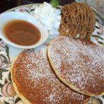 生地はふつうのホットケーキみたい。モンブランとマロンのソースはおいしい٩(๑❛ᴗ❛๑)۶