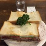 カツサンド野菜入り ¥700 まいどうまいが手を汚さずに食べるのが俺には難しい - ニューアストリア