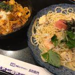 洋麺屋 五右衛門 広島シャレオ店で、ハーフアンドハーフ。