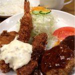 洋食屋とんはる 梅田店久しぶりの訪問。ミックス定食を🎵クリームコロッケ、海老フライ、ビフカツにハンバーグにスープ付き。もちろんライスのお代わりも出来るって❗️