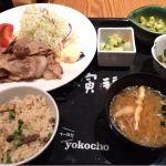 大かまど飯 寅福 丸の内店 豚の生姜焼きと秋刀魚の炊き込みご飯