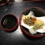 泉仙 大慈院店   天ぷら    炊いてある椎茸やさつまいも等