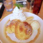 木村家 天王寺ステーション店  名前変わってるけどとりあえず。バナナキャラメルのパンケーキ。ほわほわもっちり玉子風味のパンケーキでした。バナナは一本ぶん!
