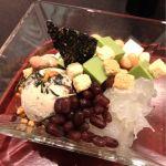 和風パフェ玄米茶のふりかけ,焙じ茶ゼリー,黒豆入りの抹茶アイス,そしてきくらげ,大豆の水煮。¥901♪