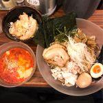 麺食い 慎太郎。ゴマだれ冷やしつけ麺、トッピング全部、チャーシュー丼の夜セット千円。美味すぎる、、、