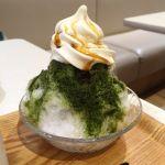 """ふわふわ淡雪かき氷+湘南 """"塩みるく"""" ソフトクリーム。黒蜜もかけました。 (@ KUGENUMA SHIMIZU テラスモール湘南店)"""