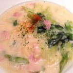 ペルコラで春野菜のクリームソースパスタいただきまーす