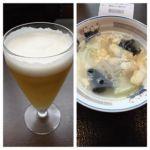 梅蘭 ららぽーと横浜店   ビール(350円)とスープ   ハートランドのグラスと冬瓜のスープ。良い香りです。