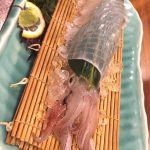 ヤリイカ活き造り@さかな市場  筑紫口店。コリコリ甘〜い(*´ڡ`●)