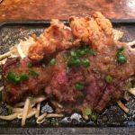 ハラミステーキと鶏唐揚げランチ  満腹です   @大衆肉割烹 ハラホロヒレハレ