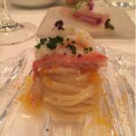 紅ズワイ蟹とカラスミの冷たいカッペリーニ@Sala AMABILE