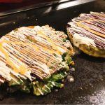 もちゅさんと一緒に、大阪のお好み焼き!牛スジ葱焼とチーズ三種焼。ふわふわの食感が(^o^)♪ ゆかり ホワイティうめだ店