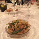 甲イカの煮込みと春菊のスパゲッティ@Sala AMABILE