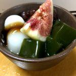 ストレス解消は甘い物で。抹茶とろとろプリン💞イチヂクも美味し〜い(^o^)/