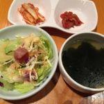 妻家房 有楽町イトシア店   定食セット    サラダ、キムチ、スープ、ご飯が付きます。