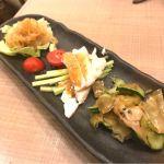 前菜3種盛@long-hu dining 博多1番街店。晩酌セット。棒棒鶏、クラゲの酢の物、ザーサイの和え物