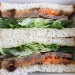 ベックスコーヒー   くるみ&レーズン入りミートローフサンド~バルサミコソース(480円)お肉を味わう贅沢なサンドイッチです。