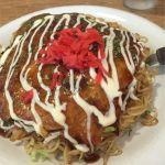 そば玉子のお好み焼き。パリッとしたソフトな麺が美味い(^-^)/