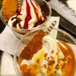 チョコベリーサンデー&キャラメルサンデー@フェアリーケーキフェア グランスタ店。ここのキャラメルソースの味が大好きです★ いつも私の選択肢はこれ1つ!