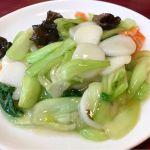 青梗菜とお餅の炒め。@馬さんの店 龍仙