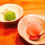 てんぷら山の上 Roppongi  プラムのシャーベット  抹茶アイス