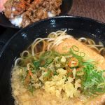 えきそば 阪神百貨店カルビ丼セット520円を天ぷらではなく揚げをチョイス🎵
