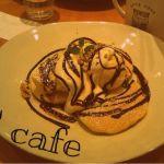 T.C cafe 岡山店▷チョコバナナのパンケーキ