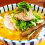 """札幌市厚別区の""""雨は、やさしく""""。味噌ラーメンを注文。鶏の白レバーペーストを溶かしながらでコクもあって美味い(^^)dゴボウもいいアクセント。"""