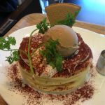 CORAZoN CAFE ティラミスパンケーキ。別でエスプレッソソースが付いて上にはカフェモカかな?のアイスが(^^)生地もフワフワで美味しかった!