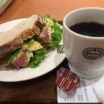 神戸屋キッチン・キッチンマリエ富山ローストビーフ&春キャベツサンド+コーヒー(748円)  具もたっぷり!  パンが美味しいのは矢張りパン屋さんだから?