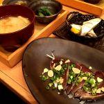 藁焼き鰹とはらんぼ定食。普通に美味しかった(´ . .̫ . `)五穀 岡南店