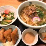 お昼は大阪丸ビル地下のうどん割烹 花きりでランチセットを肉うどんとお稲荷さんを頂きました!