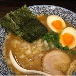 お初。濃厚煮干し 味玉。スープは熱過ぎず猫舌にはありがたい。 (@ 麺匠 藤勝)