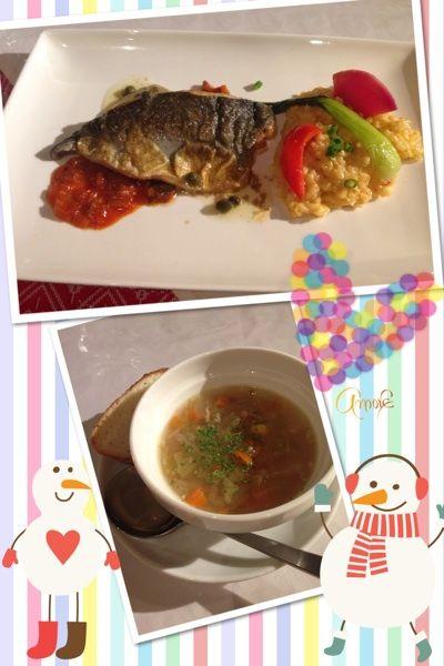 クロアチアレストラン・ドブロでのランチ♡ブリの幼魚(ワカシ)とリゾットのセットをオーダーしました(*'-'*)