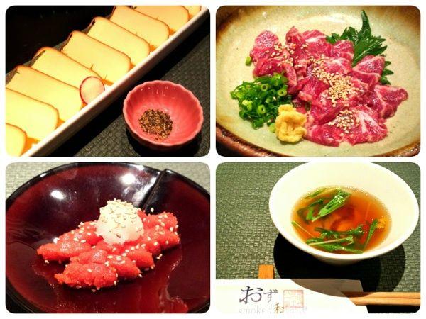 札幌市中央区のおずsmoked和taste。チーズ・明太子の燻製、馬刺し、お雑煮。燻製料理を中心にここは全部美味いd(^_^o)満足!