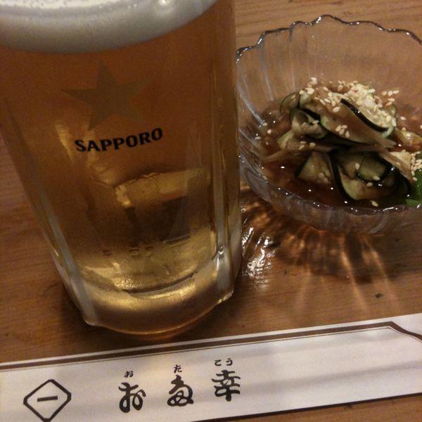 お多幸 新宿店にきました。茄子と谷中の醤油漬け。