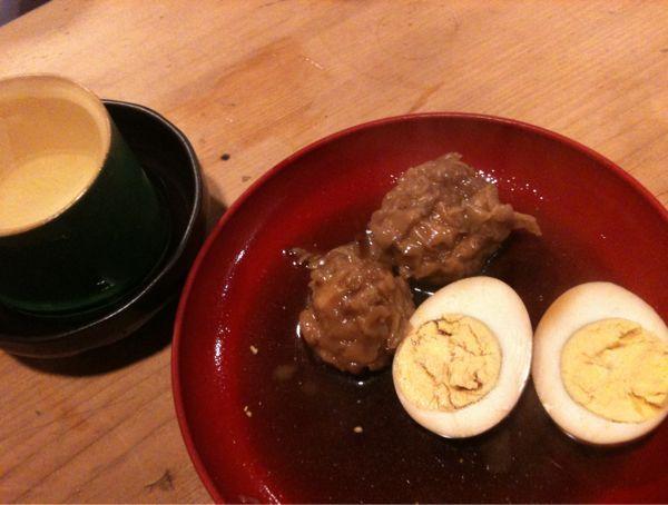 埼玉の神亀と、シュウマイ、卵のおでん。