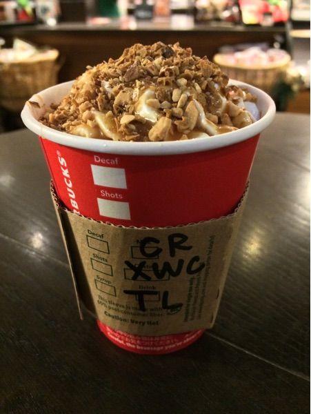 スターバックス・コーヒー 表参道B-SIDE店 クランチー キャラメル トフィー ラテでガリガリホカホカ♪ ふつーのキャラメルソースは追加できるっぽい