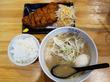 【福岡】クリーミー魚介豚骨ラーメン+トンカツセット290円♪@海鳴食堂
