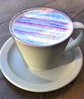 29日まで!東急プラザ銀座6F「数寄屋橋茶房」の青い縞模様が粋な「カフェ・オ・レ」
