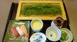 「抹茶香る 茶そばとにぎり寿司セット」@「かごの屋」都島店
