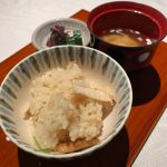 食事 松茸釜炊き御飯 香の物 味噌汁。@なだ万茶寮 渋谷店