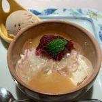 デザート 栗のアイスクリーム クリームチーズケーキ  リンゴの蕨餅。@なだ万茶寮 渋谷店