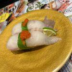 廻鮮寿司 しまなみ イオンモール広島府中ソレイユ店で、ヒラメ。現在、回らないお寿司屋さんになってます。